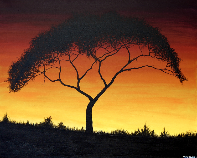 Painting of a tree in front of an orange sunset