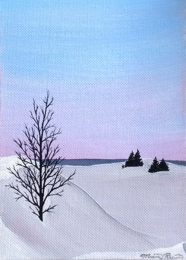 Painting of a snowy dune landscape