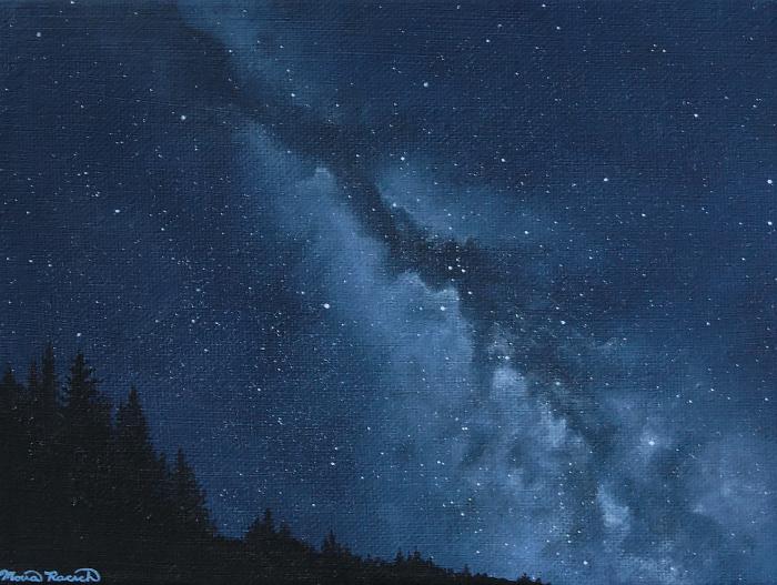 Painting of the night sky with tree-covered dune silouette