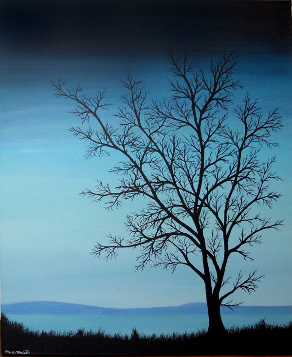 Painting of a tree silhouette in front of a lake at dusk