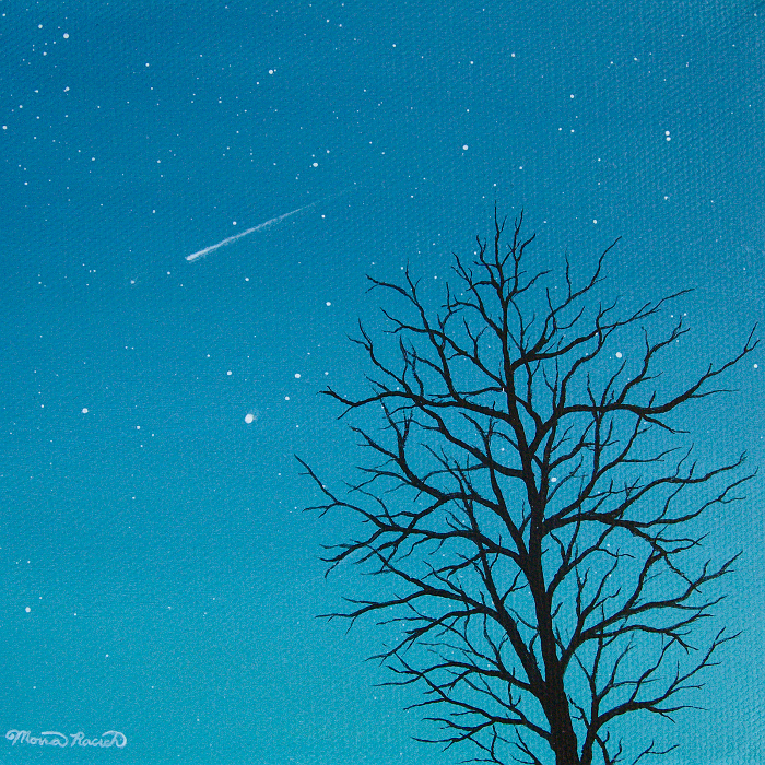Painting of a tree silhouette and shooting star