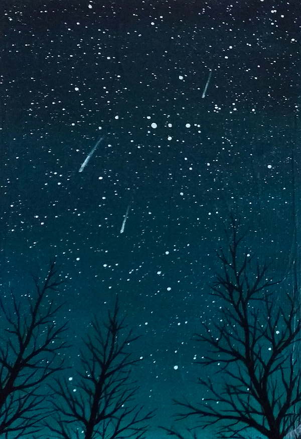 Painting of three meteors over trees