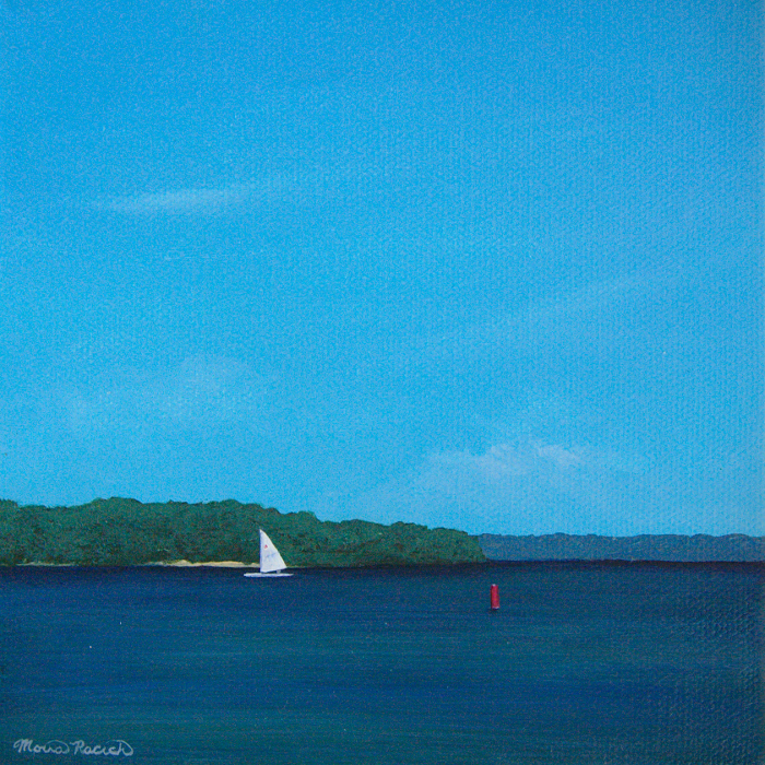 Painting of a sailboat and a red buoy