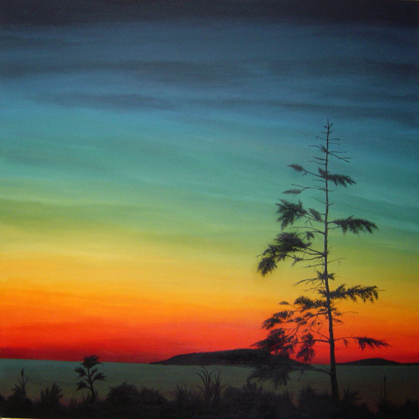 Painting of a pine tree silhouette in front of a lake at sunset