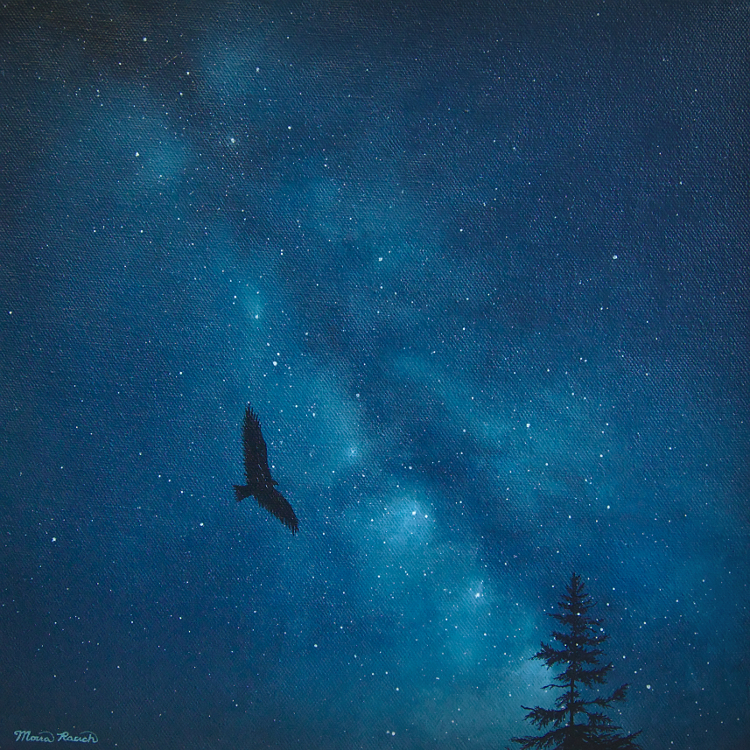 Painting of the night sky with a bird and tree silouette