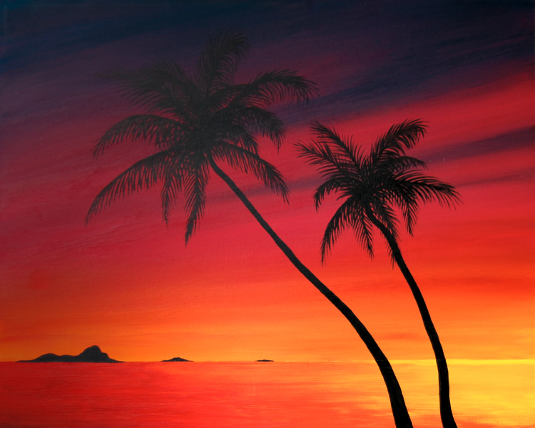 Painting of two palm trees over water at sunset