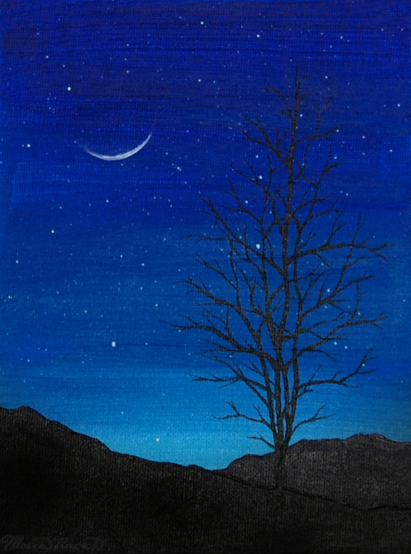 Painting of a tree in the mountains with a rising cresent moon