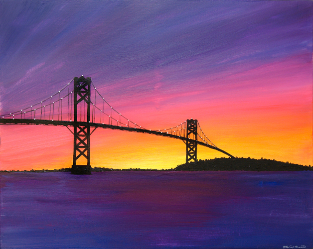 Painting of the Mount Hope Bridge at sunset