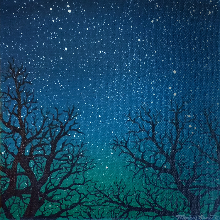 Painting of tree silhouettes against a starry sky