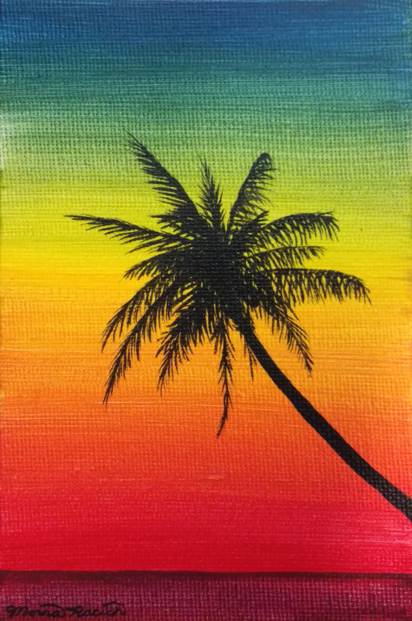 Painting of a palm tree at sunset