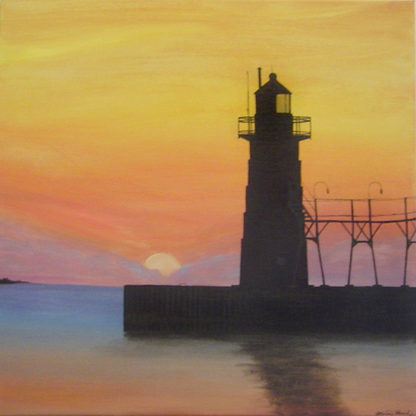 Painting of the South Haven South Pierhead Lighthouse at sunrise