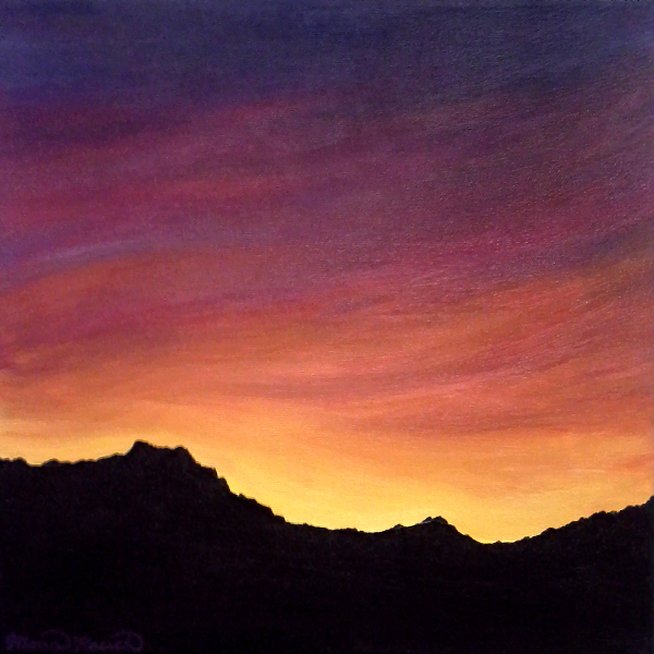 Painting of mountain silhouettes at sunset