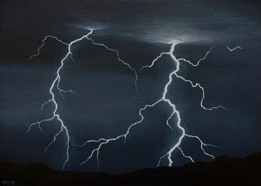 Painting of two lightning bolts