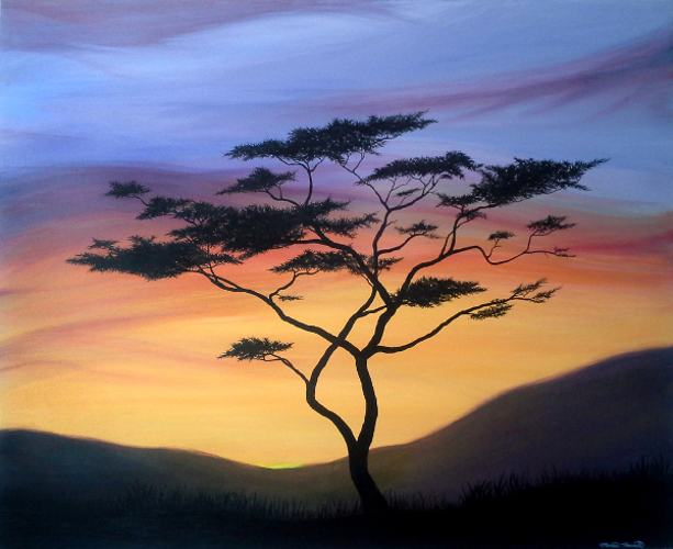 Painting of a tree silhouette in front of hills and the setting sun