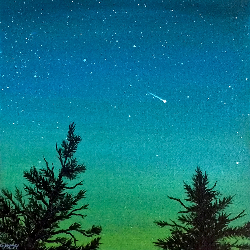 Painting of a shooting star with tree silhouettes in the foreground