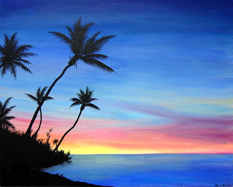 Painting of palm tree silhouettes by the ocean at sunset