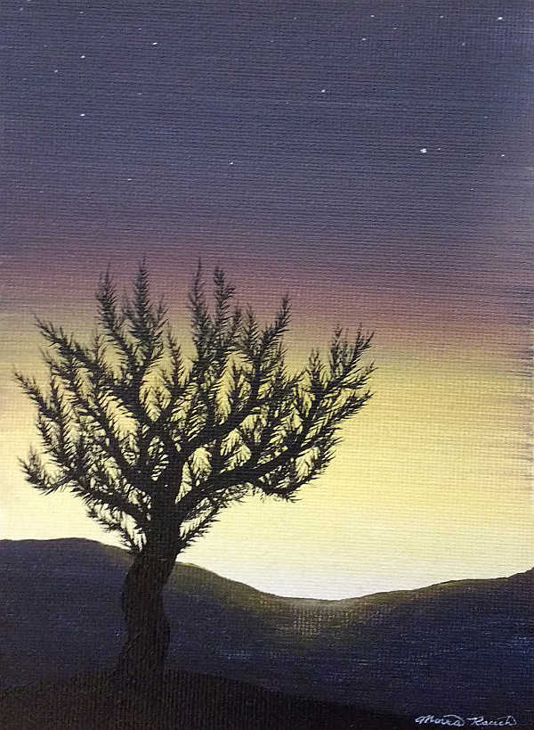 Painting of a twisty tree in front of a setting sun