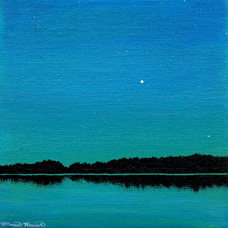 Painting of Venus over water at dusk