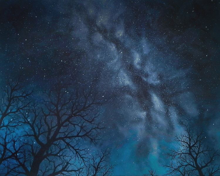 Painting of the Milky Way galaxy with tree silhouettes in the foreground