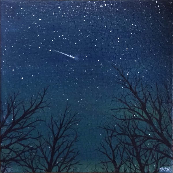 Painting of trees in front of a starry night sky with a shooting star