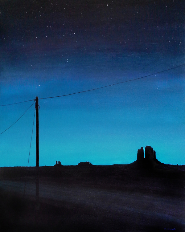 Painting of a telephone pole in the desert at twilight