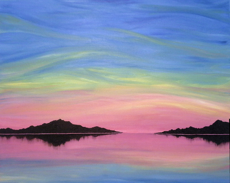 Painting of sunrise over water
