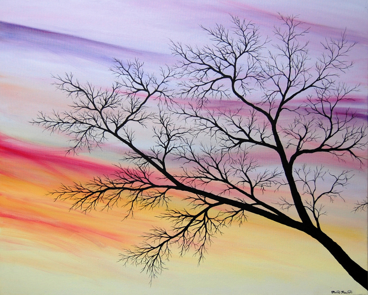 Painting of a tree branch at sunrise